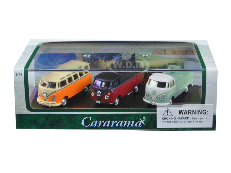 Volkswagen Bus 3 Piece Gift Set In Display Showcase 1/72 Diecast Model Cars By Cararama