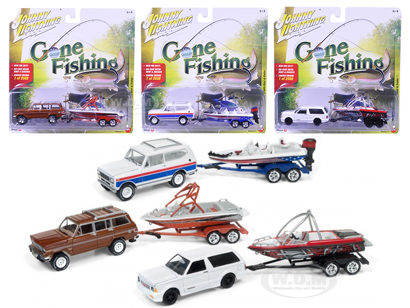 """""""Gone Fishing 2017 Release 3A Set of 3 1/64 Diecast Model Cars by Johnny Lightning Photo - Gifts For Boys"""
