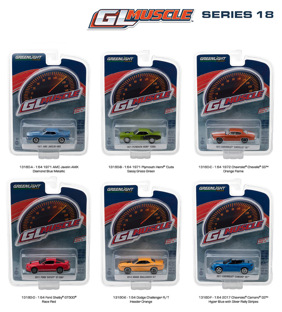 Greenlight Muscle Series 18 6pc Diecast Car Set 1/64 Diecast Model Cars by Greenlight