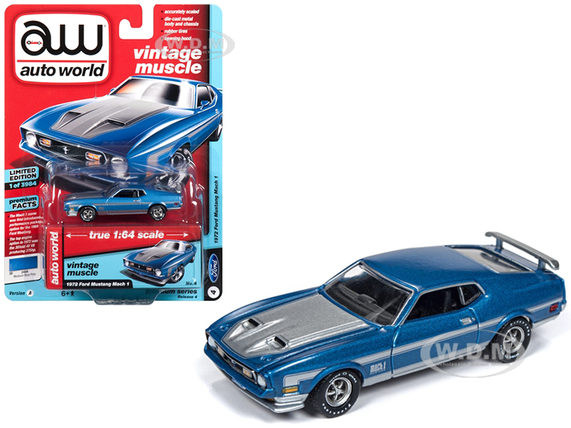 1972 Ford Mustang Mach 1 Medium Blue Poly with Silver Stripes Vintage Muscle Limited Edition to 3984 pieces Worldwide 1|64 Diecast Model Car by Autoworld
