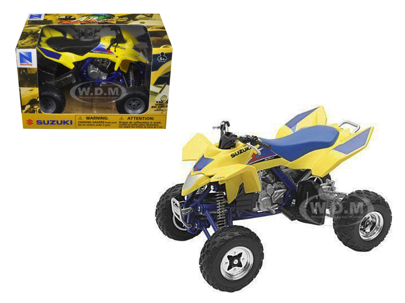 Suzuki Quad Racer R450 Yellow/Blue ATV Motorcycle 1/12 Diecast Model by New Ray  43393