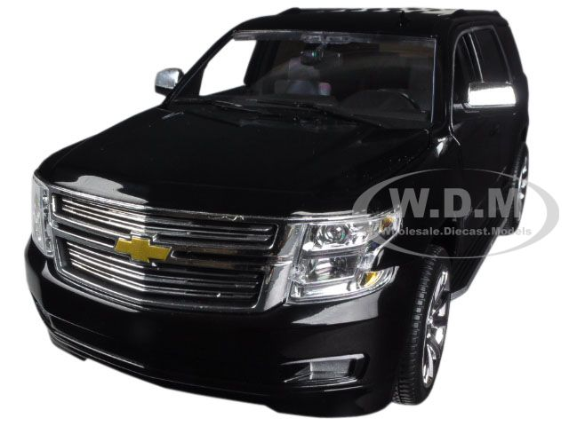 2015 Chevrolet Tahoe LTZ in Black with Black Interior 1/24 Diecast Car Model by Norscot