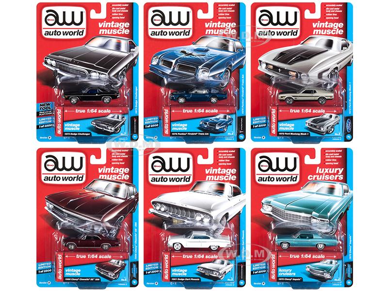 Autoworld_Muscle_Cars_Premium_2018_Release_2_B_Set_of_6_164_Diecast_Model_Cars_by_Autoworld