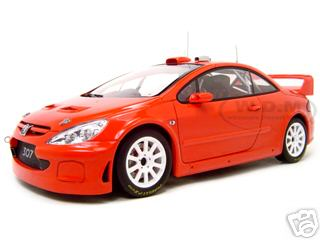 2005 Peugeot 307 WRC Plain Body Version Red 1/18 Diecast Model Car by Autoart