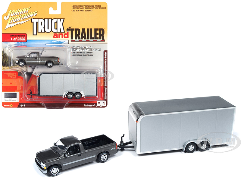 2000 Chevrolet Silverado Pickup Truck Dark Gray with Enclosed Car Trailer Limited Edition to 2560 pieces Worldwide
