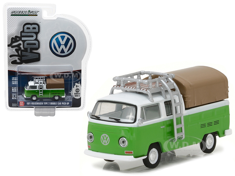 1971 Volkswagen Type 2 Double Cab Pickup with Roof Rack and Canopy Series 5 Club V-Dub 1/64 Diecast Model Car by Greenlight