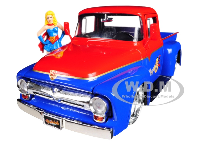 1956 Ford F-100 Pickup Truck Red and Blue with Supergirl Diecast Figure