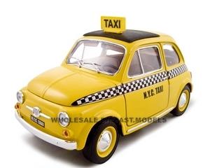 Fiat 500 Taxi Cab 1/18 Diecast Model Car By Bburago