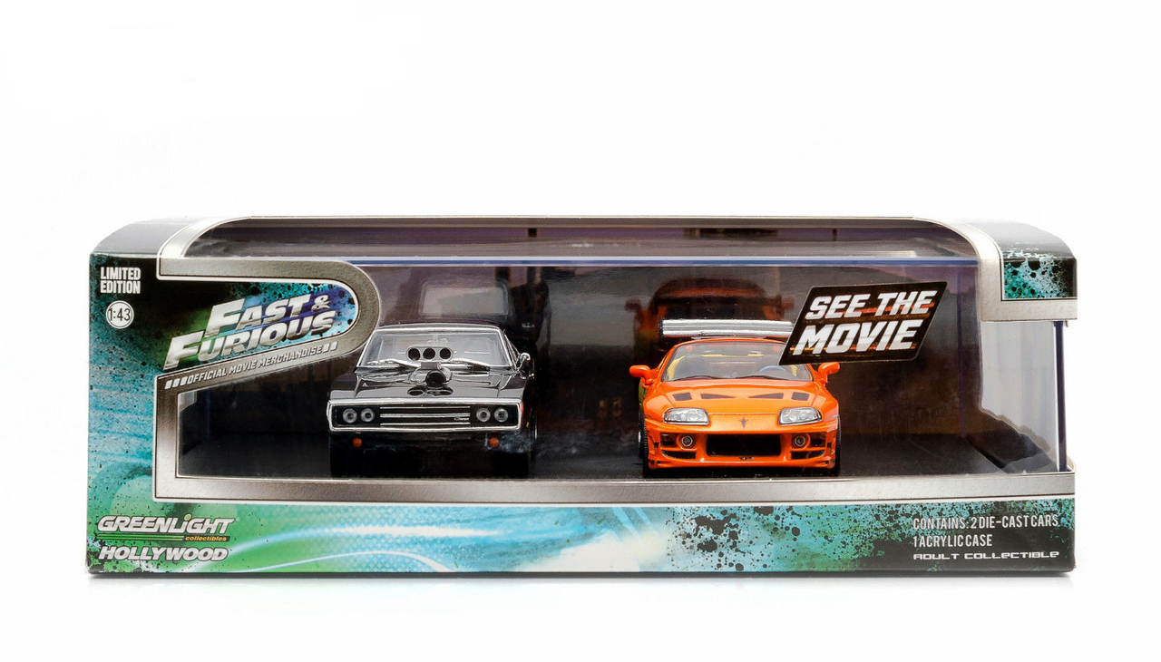 """""""The Fast and The Furious"""" Movie 1995 Toyota Supra MK4 and 1970 Dodge Charger Set 1/43 by Greenlight 86250"""