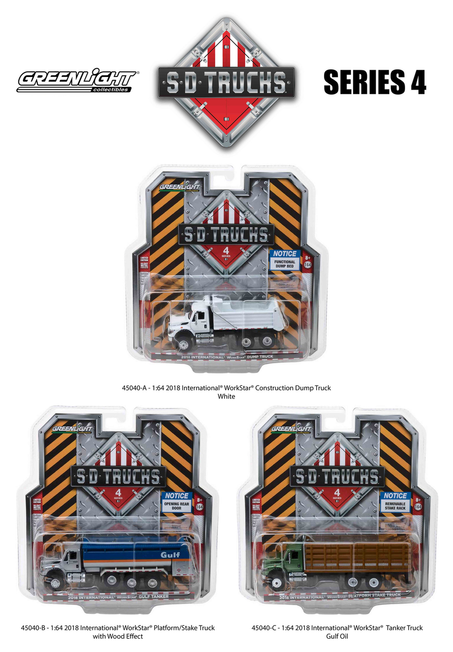 2018_International_Workstar_Trucks_Set_of_3_SD_Trucks_Series_4_164_Diecast_Models_by_Greenlight
