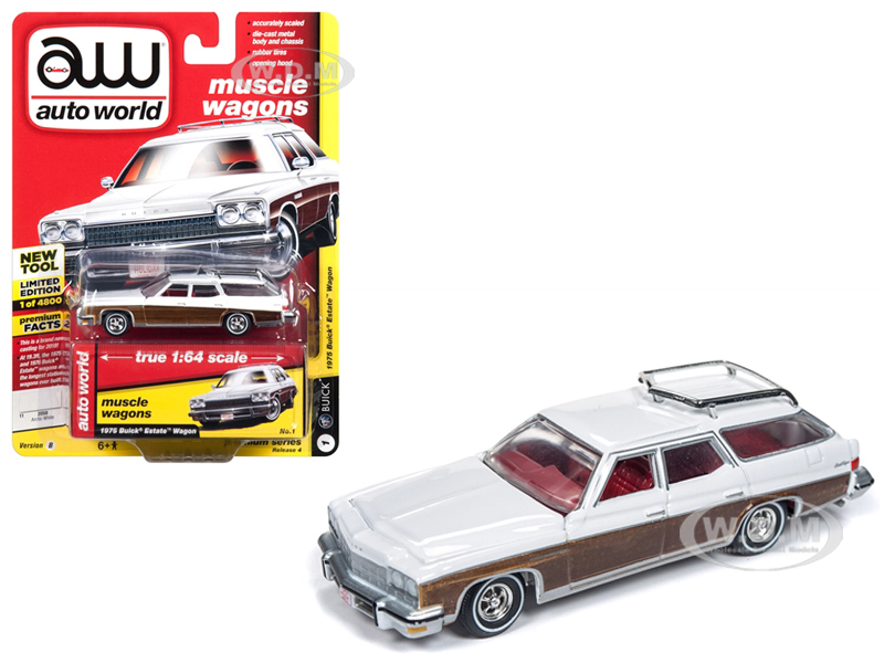 1975 Buick Estate Wagon Sand Gloss White with Woodgrain Muscle Wagons Limited Edition to 4800 pieces Worldwide 1|64 Diecast Model Car by Autoworld