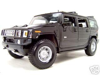2003 Hummer H2 SUV  Black 1/18 Diecast Model Car by Maisto
