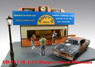 Burger Stand Diorama for 118 Diecast Model Cars by American Diorama