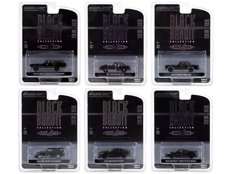 "http://www.diecastmodelswholesale.com - ""Black Bandit"" 6 piece Set Series 24 1/64 Diecast Model Cars by Greenlight"