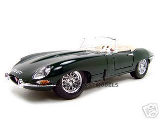1961 Jaguar E Type Convertible Green 1/18 Diecast Model Car by Bburago