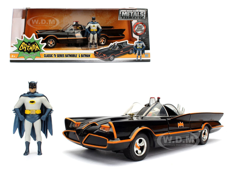 1966 Classic TV Series Batmobile with Diecast Batman and Plastic Robin in the car 1/24 Diecast Model Car by Jada 98259