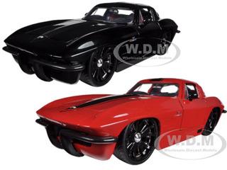 1963 Chevrolet Corvette Stingray Red & Black 2 Cars Set 1 24 Diecast Model Cars by Jada