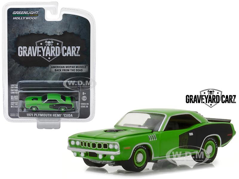 1971_Plymouth_Hemi_Cuda_Green_Graveyard_Carz_2012_TV_Series_Hollywood_Series_20_164_Diecast_Model_Car_by_Greenlight