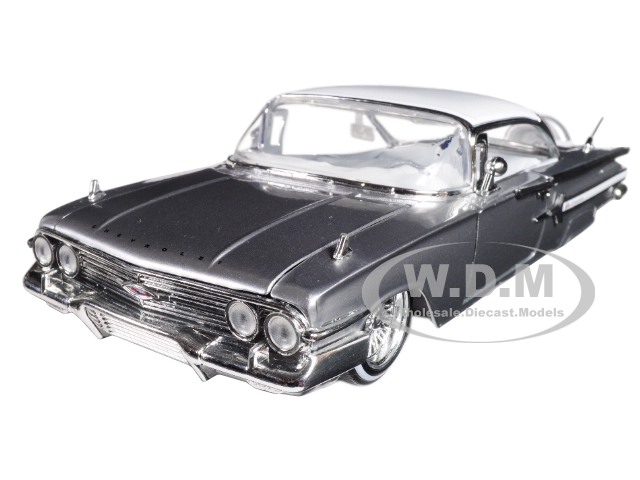 1960_Chevrolet_Impala_Silver_Lowrider_Series_Street_Low_124_Diecast_Model_Car_by_Jada