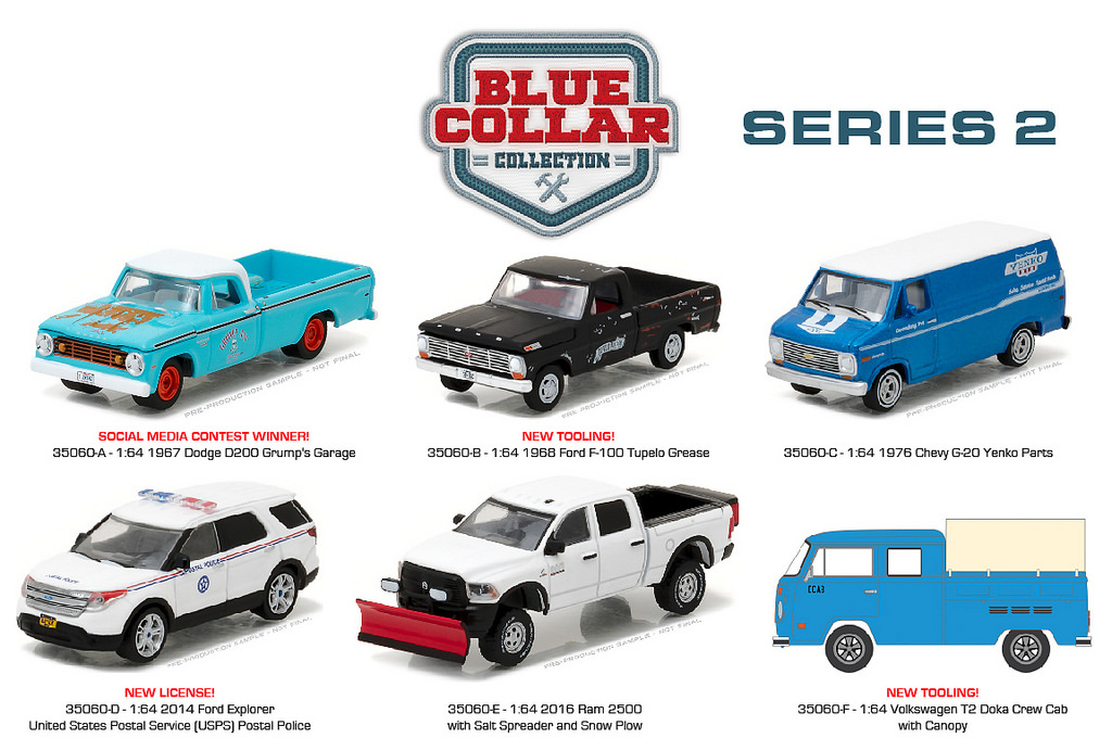 Blue Collar Collection Series 2 6pc Diecast Car Set 1/64 Diecast Model Cars by Greenlight