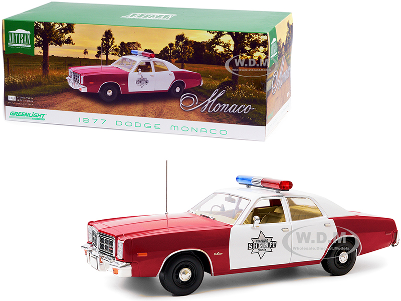"http://www.diecastmodelswholesale.com - 1977 Dodge Monaco ""Finchburg County Sheriff"" Burgundy and White 1/18 Diecast Model Car by Greenlight"