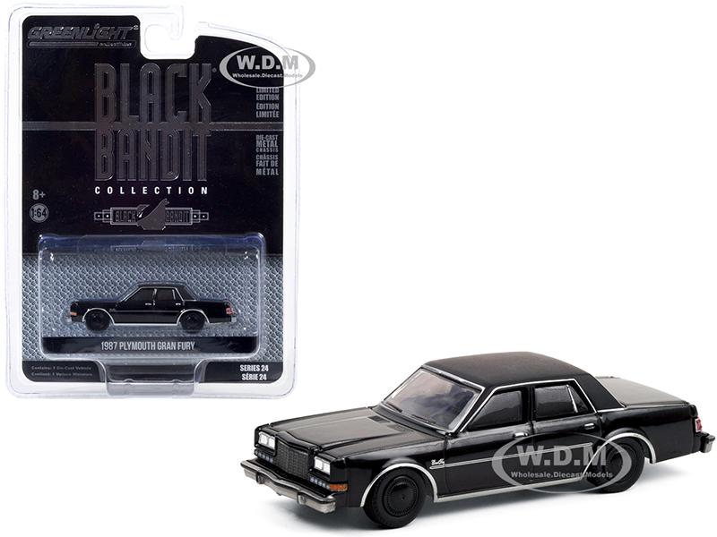 "http://www.diecastmodelswholesale.com - 1987 Plymouth Gran Fury ""Black Bandit"" Series 24 1/64 Diecast Model Car by Greenlight"