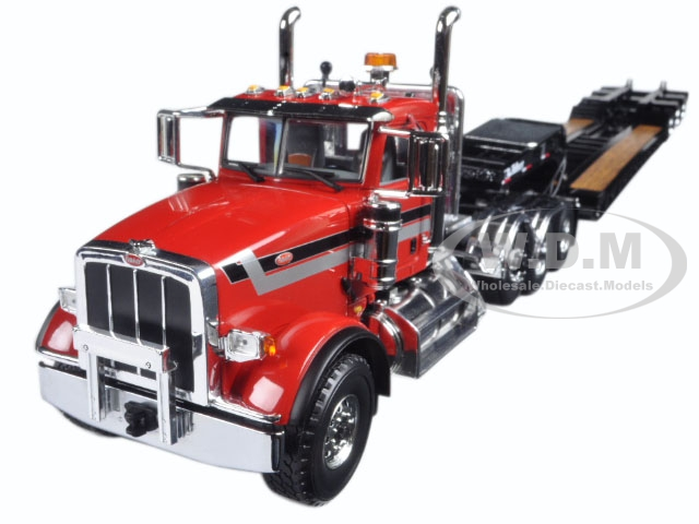Peterbilt 367 with Tri Axle Lowboy Trailer Red and Black 1/34 Diecast Model by First Gear