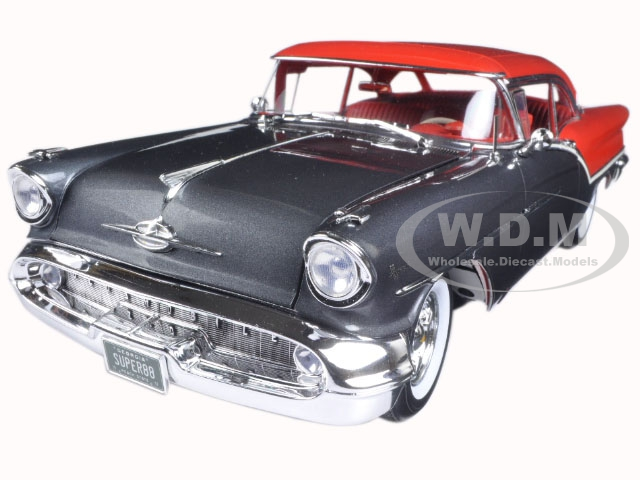 1957 Oldsmobile Super 88 Charcoal Grey / Festival Red Limited Edition to 762pcs 1/18 Diecast Model Car  by Acme