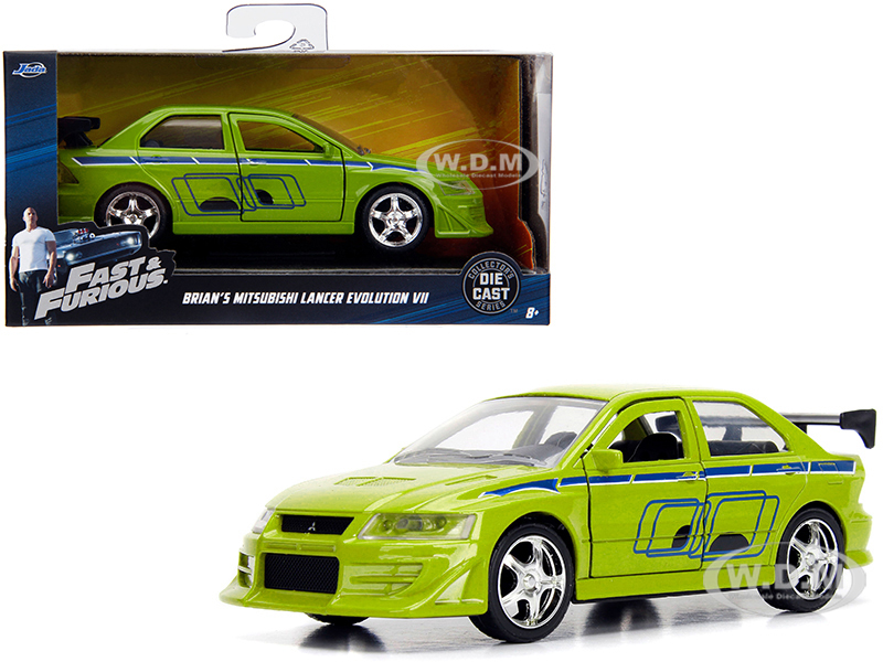 Brians_Mitsubishi_Lancer_Evolution_VII_Green_Fast_&amp_Furious_Movie_132_Diecast_Model_Car_by_Jada
