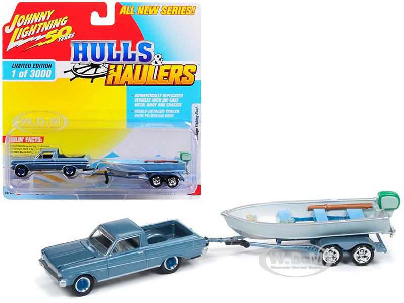 1965_Ford_Ranchero_Silver_Blue_with_Vintage_Fishing_Boat_Limited_Edition_to_3000_pieces_Worldwide_Hulls_&amp_Haulers_Series_1_164_Diecast_Model_C