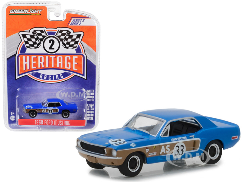 1968_Ford_Mustang_AS_33_John_McComb_Trans_Am_Continental_Divide_Blue_Ford_Racing_Heritage_Series_2_164_Diecast_Model_Car_by_Greenlight