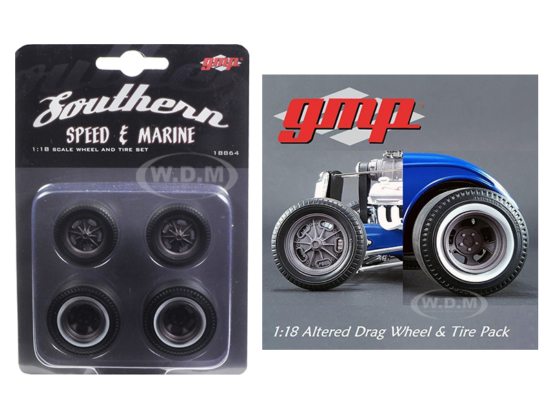 Wheels and Tires Set of 4 Drag Magnesium Finish from 1934 Altered Drag Coupe 1/18 by GMP