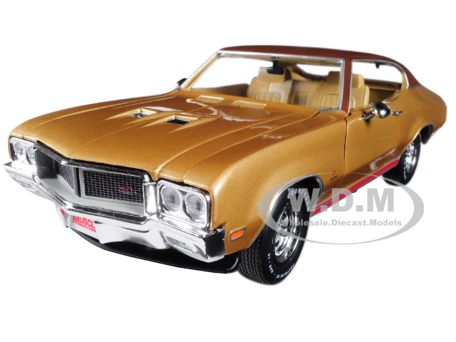 1970 Buick Skylark GS Gold Hemmings Muscle Machines Limited Edition to 1002pc 1|18 Diecast Model Car by Autoworld