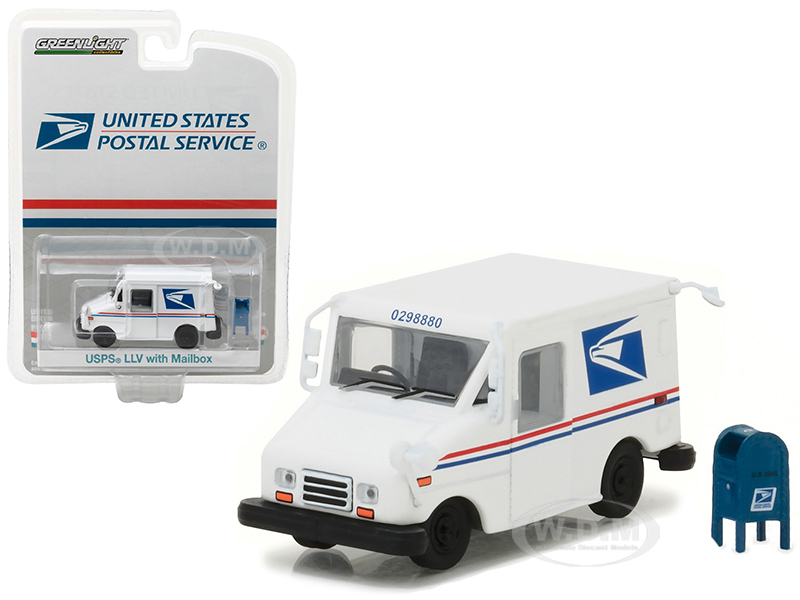 United States Postal Service USPS Long Live Postal Mail Delivery Vehicle LLV with Mailbox Accessory Hobby Exclusive 1/64 Diecast Model Car by Greenlight 29888