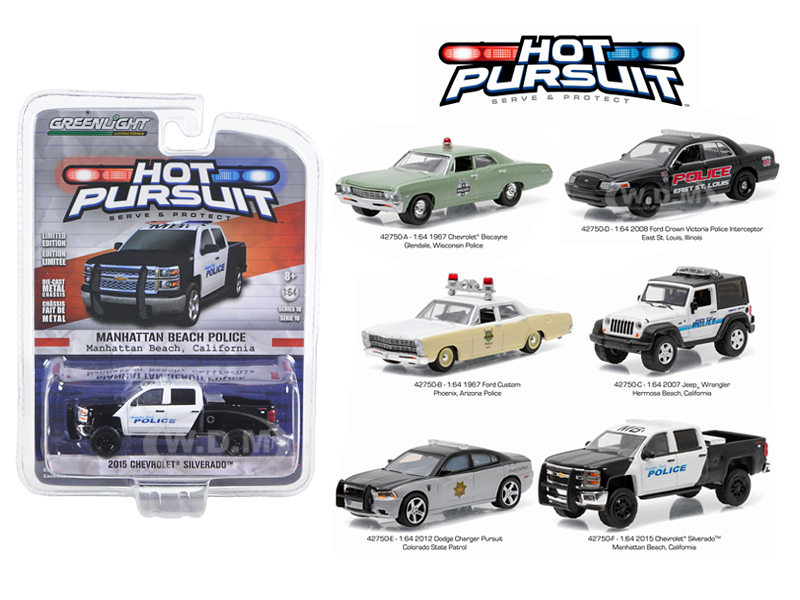 Hot Pursuit Series 18 6pc Diecast Car Set 1/64 Diecast Model Cars by Greenlight