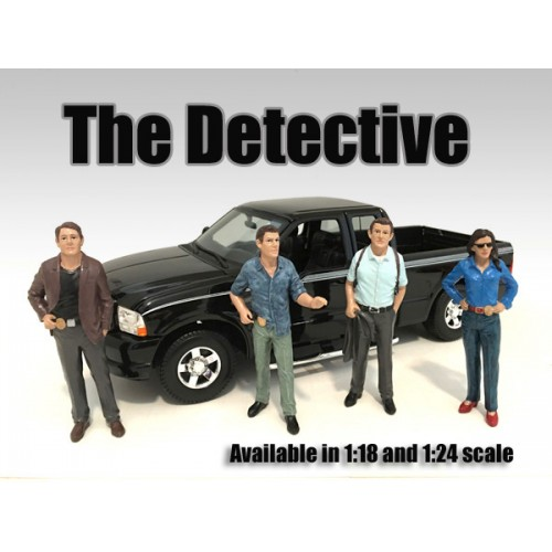 """The Detective"" 4 Piece Figure Set For 1:24 Scale Models by American Diorama.Packed in a blister pack.Only 4 figures will be received.Detective #1Detective #2Detective #3Detective #4Each standing figure is approximately 3 inches tall."