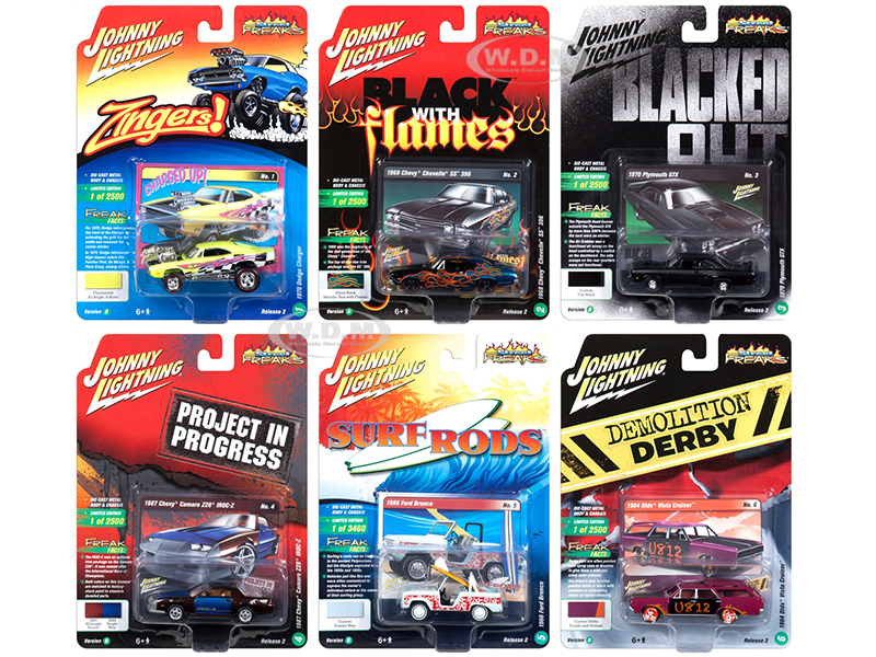 Street Freaks 2018 Release 2 Set B of 6 Cars 1/64 Diecast Models by Johnny Lightning