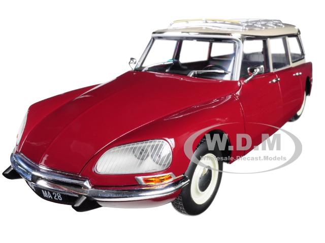 1970 Citroen Break 21 with Roof Rack Burgundy 1/18 Diecast Model Car by Norev