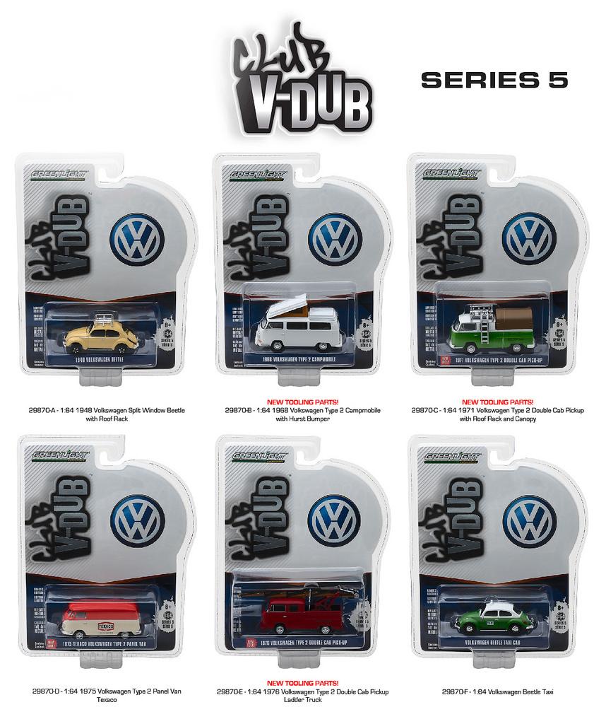 Greenlight Vee Dub Series 5 6pc Diecast Car Set 1/64 Diecast Model Cars by Greenlight