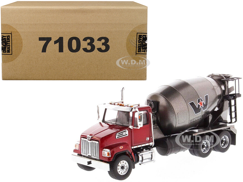 Western Star 4700 SF Concrete Mixer Metallic Red with Gray Body 1/50 Diecast Model by Diecast Masters