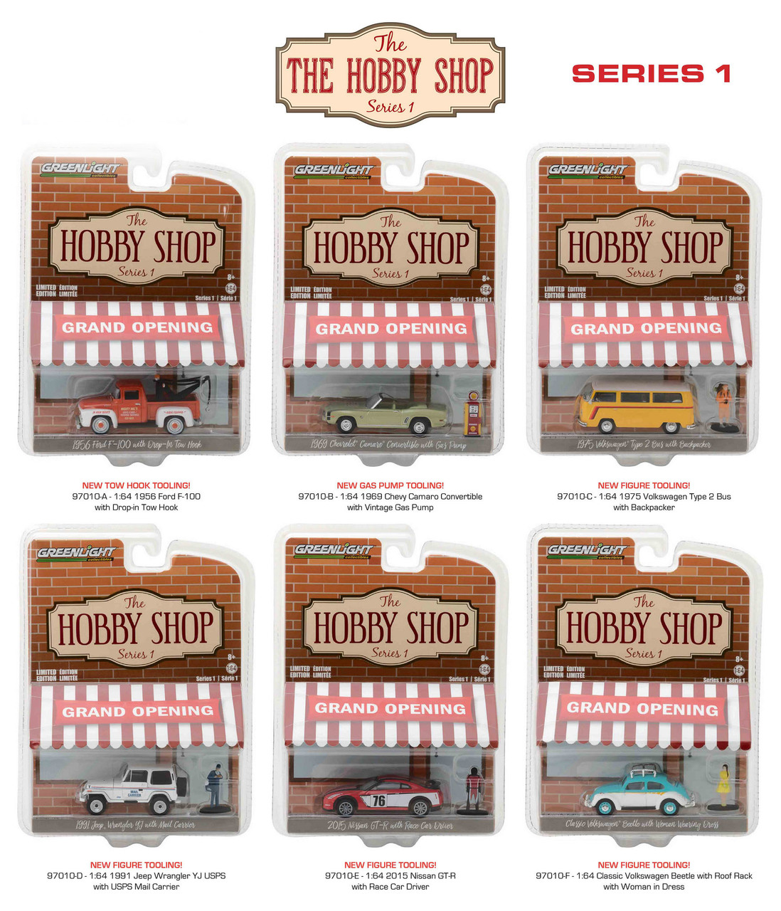 The Hobby Shop Series 1 6pc Diecast Car Set 1/64 Diecast Model Cars by Greenlight