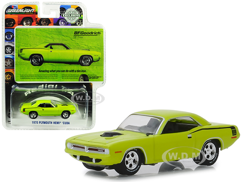 1970_Plymouth_HEMI_Barracuda_Lime_Green_Amazing_What_You_Can_Do_With_A_Tire_Iron_BFGoodrich_Vintage_Ad_Cars_Hobby_Exclusive_164_Diecast_Model_Car