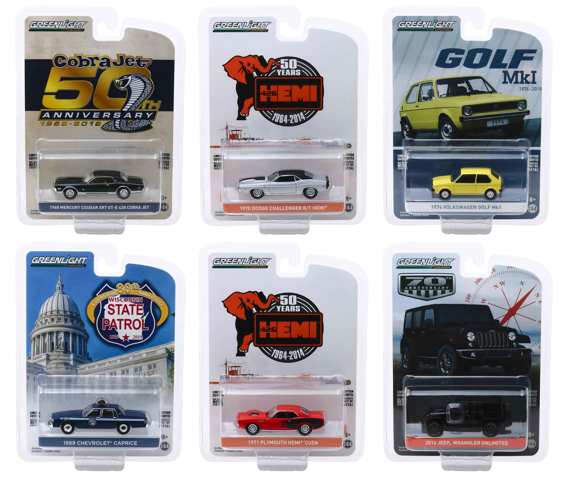 """""""Anniversary Collection"""" Series 9 Set of 6 pieces 1/64 Diecast Model Cars by Greenlight"""