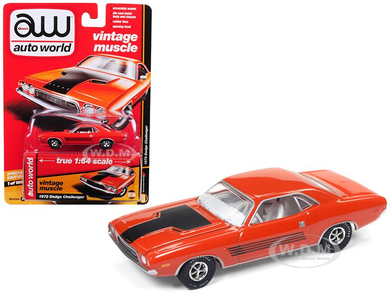 1972 Dodge Challenger Rallye Hemi Orange Auto World's Premium Limited Edition To 1800 Pieces Worldwide 1/64 Diecast Model Car By Autoworld