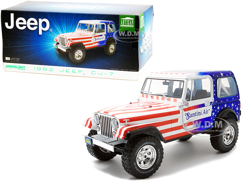 """http://www.diecastmodelswholesale.com - 1982 Jeep CJ-7 """"Santini Air"""" with American Flag Graphics 1/18 Diecast Model Car by Greenlight"""