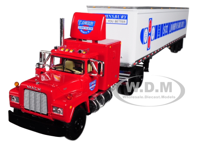 Mack R Model Sleeper Cab with 53 Trailer St. Johnsbury 1/64 Diecast Model by First Gear