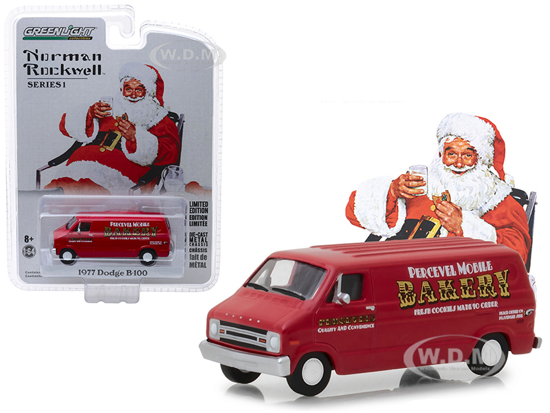 1977_Dodge_B100_Van_Percevel_Mobile_Bakery_Red_Norman_Rockwell_Delivery_Vehicles_Series_1_164_Diecast_Model_by_Greenlight