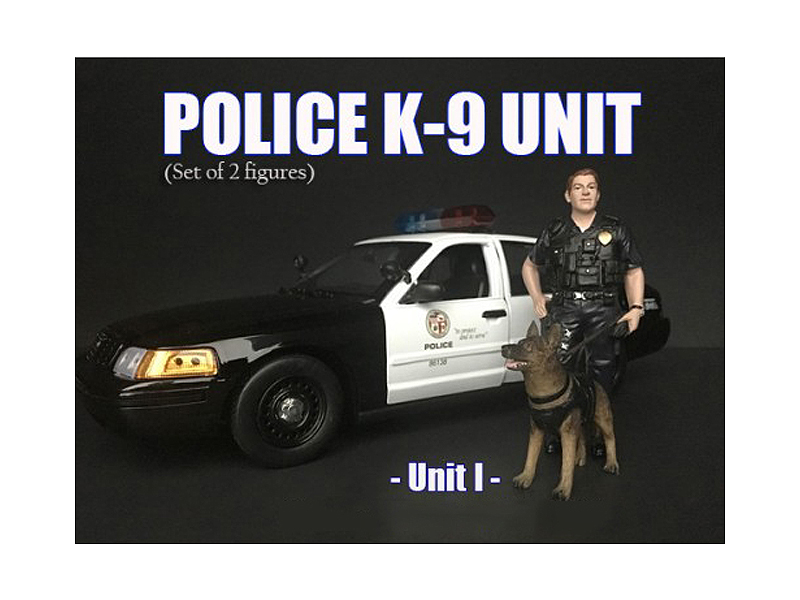 Police Officer Figure With K9 Dog Unit I For 1/18 Scale Models By American Diorama