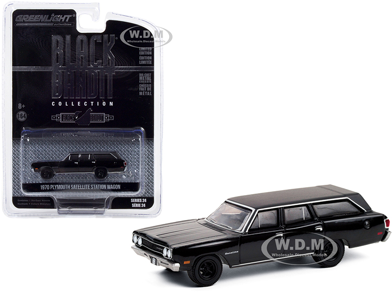 """http://www.diecastmodelswholesale.com - 1970 Plymouth Satellite Station Wagon """"Black Bandit"""" Series 24 1/64 Diecast Model Car by Greenlight"""