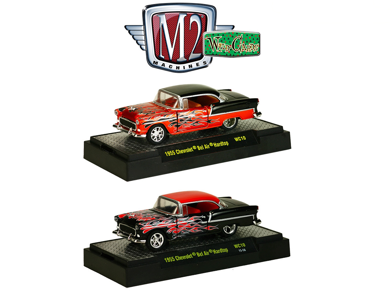 Wild Cards 1955 Chevrolet Bel Air Hardtop Candy Orange/Black Set of 2 WITH CASES 1/64 Diecast Model Cars by M2 Machines  32500-WC10
